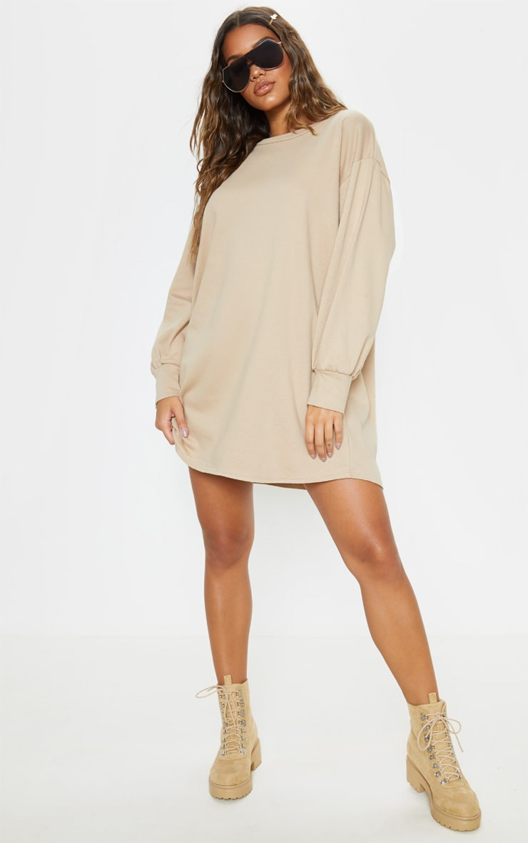 Stone Oversized Jumper Dress 4