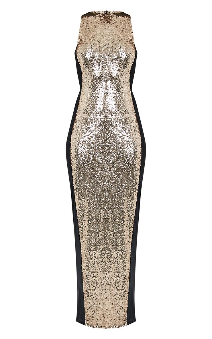 Carsie Gold Sleeveless Sequin Maxi Dress 3