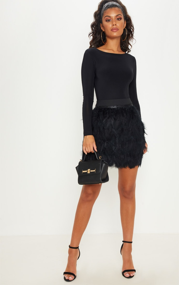 Black Tiered Feather Mini Skirt 5