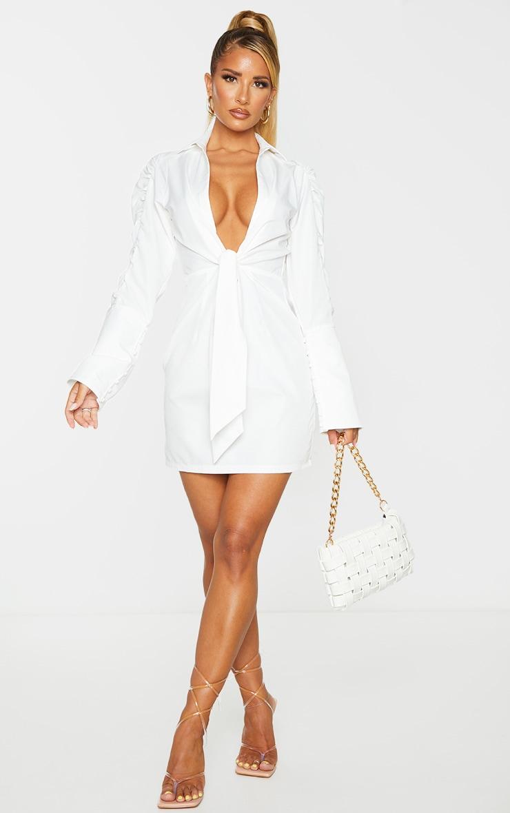 White Ruched Sleeve Plunge Drape Detail Shirt Dress 3