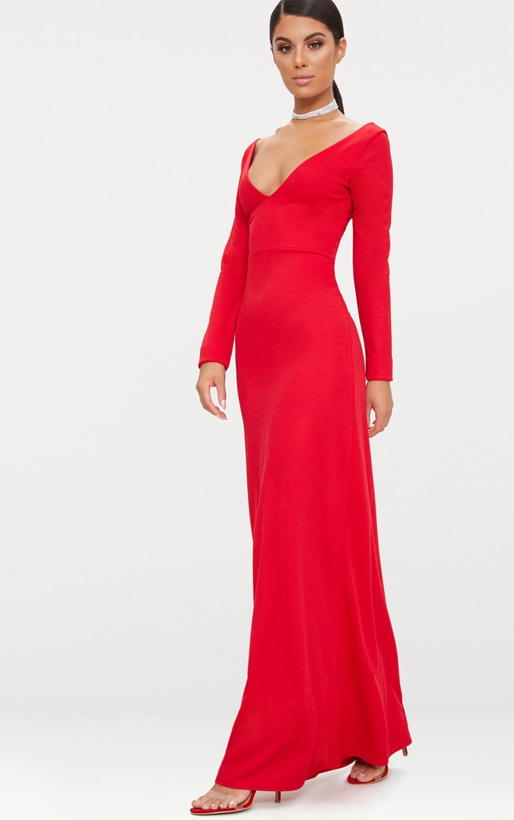 Red Backless Plunge Long Sleeve Maxi Dress  4