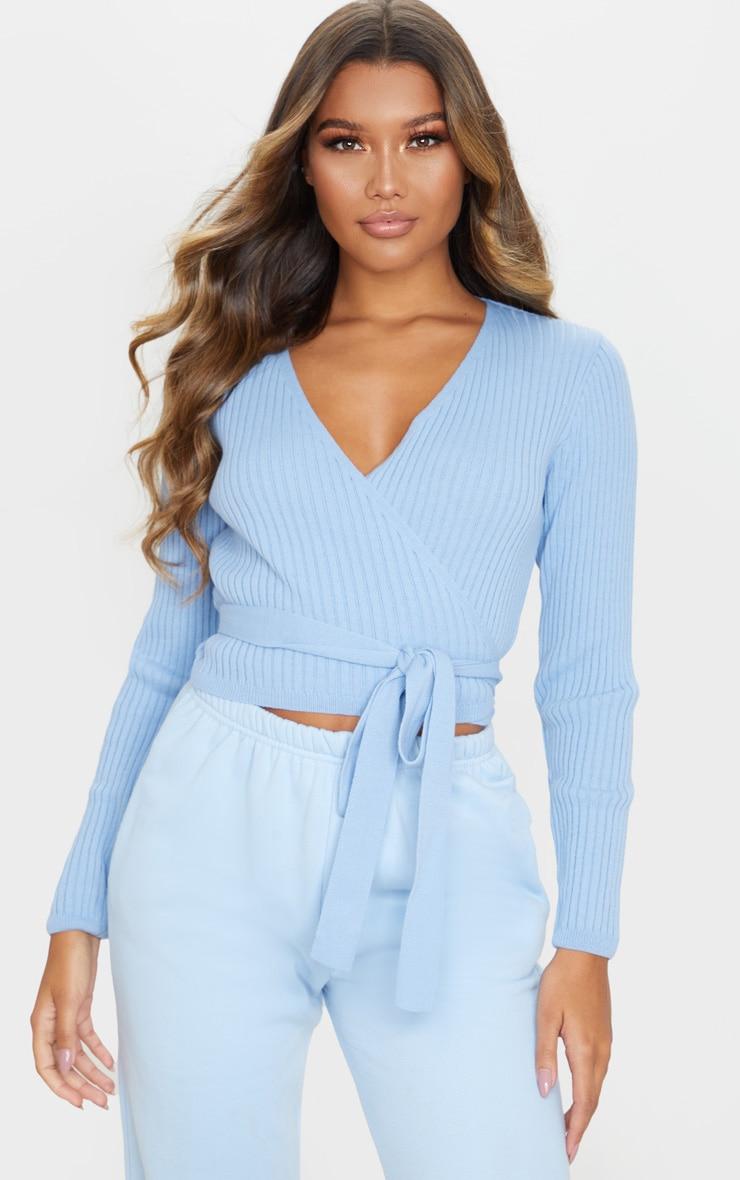 Cardigan en maille tricot côtelée portefeuille bleu clair image 1