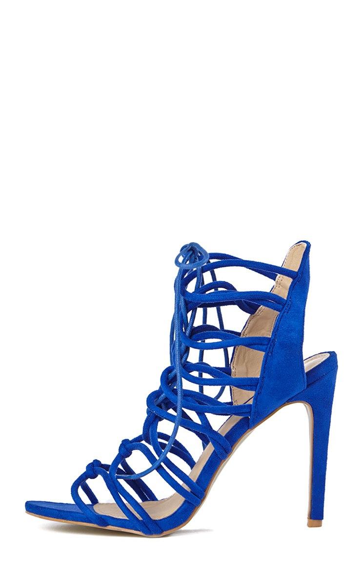 Lenore Blue Multi Strap Heels 4