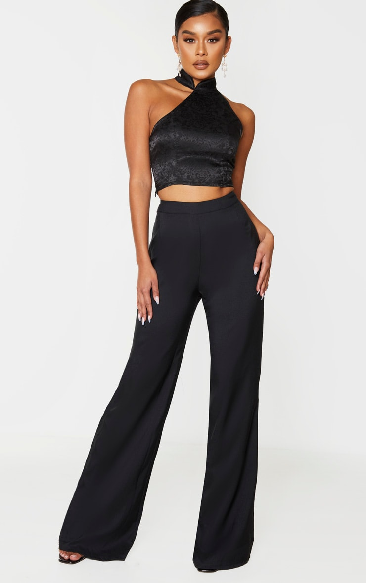 Black Satin Oriental High Neck Asymmetric Crop Top 3