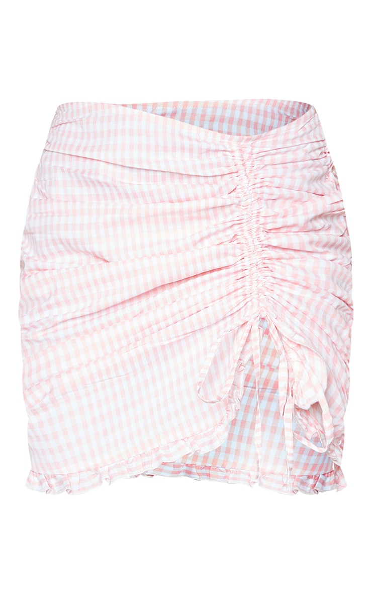 Pink Gingham Ruched Side Mini Skirt 6