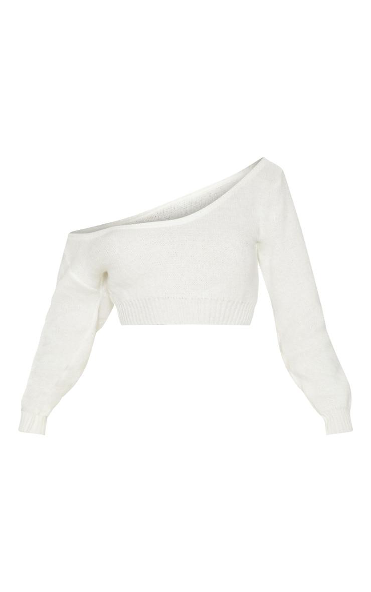 Cream V Neck Off Shoulder Knitted Cropped Jumper 3