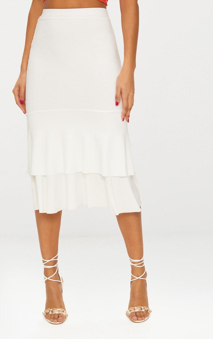 Cream Slinky Frill Hem Midi Skirt 2