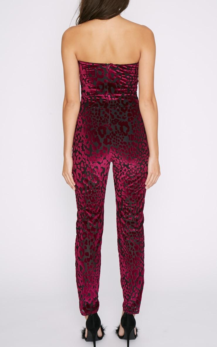 Jasmine Purple Velvet Leopard Print Plung Jumpsuit 2