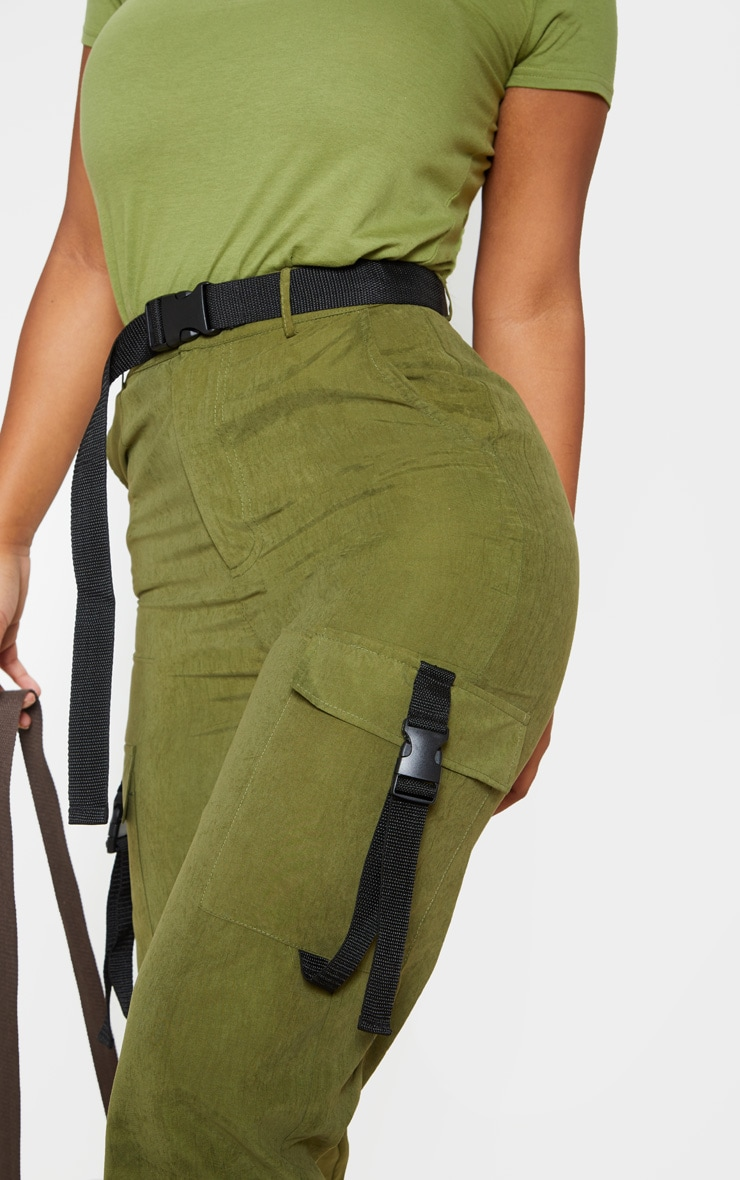 Khaki Buckle Detail Belted Cargo Pants 5