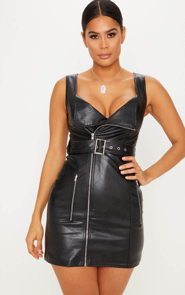 Black PU Zip Front Shift Dress 1