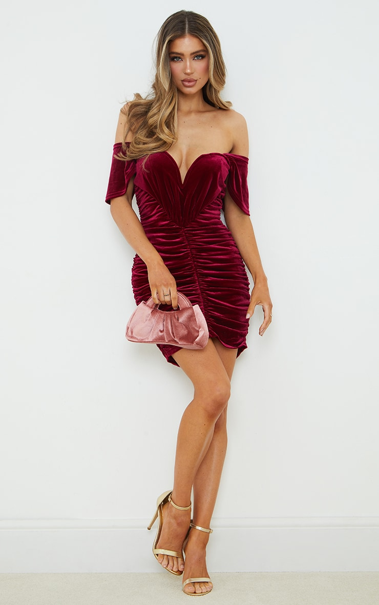 Burgundy Velvet Plunge Ruched Bardot Bodycon Dress 3