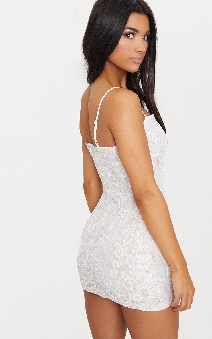 White Lace Bodycon Dress With Nude Lining 2