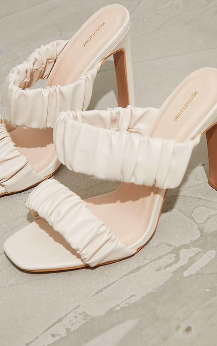 Cream Ruched Twin Strap Flat High Heeled Mules 4