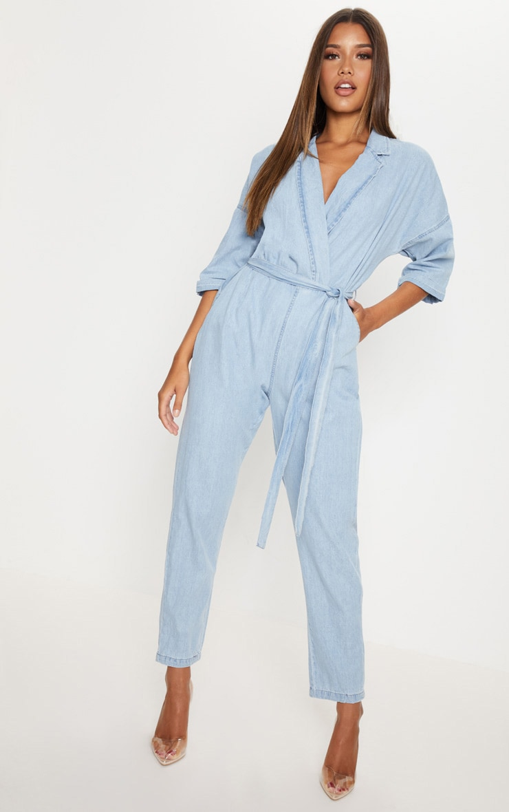 Light Wash Denim Utility Jumpsuit 1