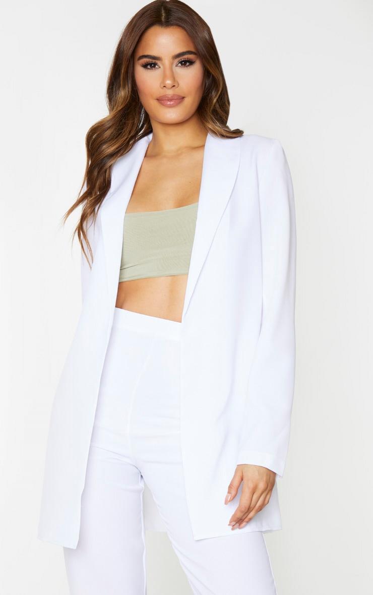 Tall White Oversized Longline Blazer 1