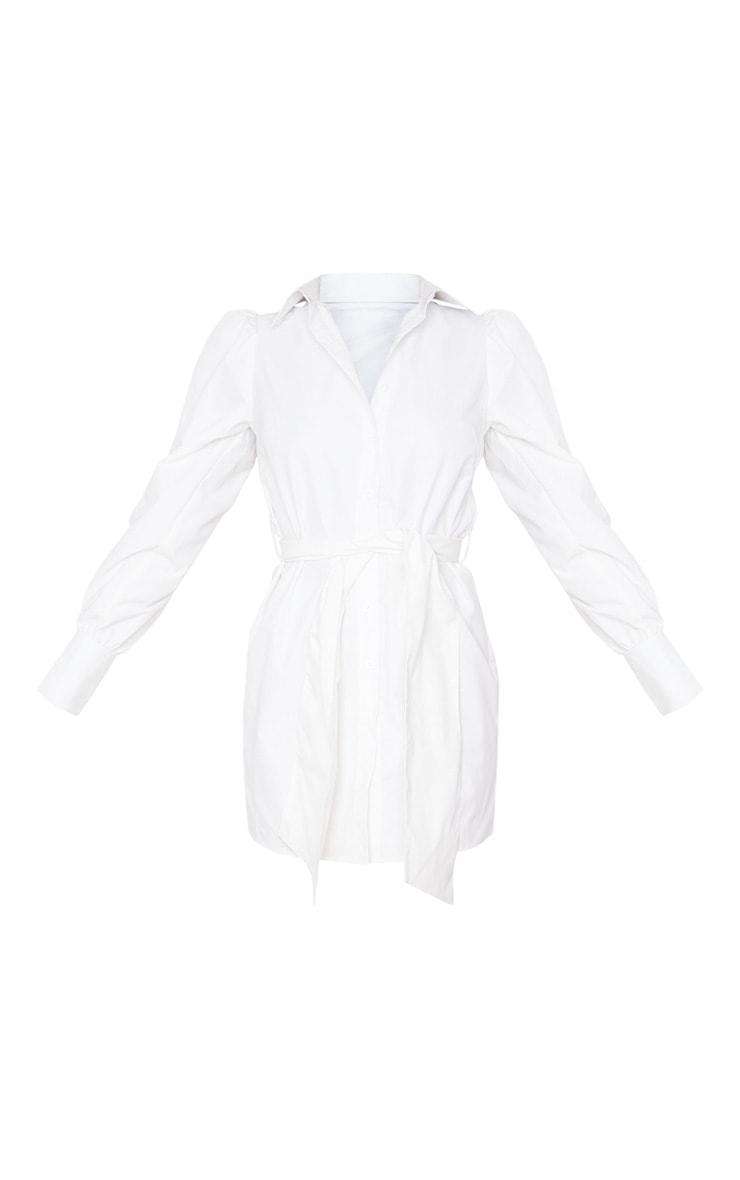 White Puff Shoulder Long Sleeve Belt Detail Shirt Dress 3