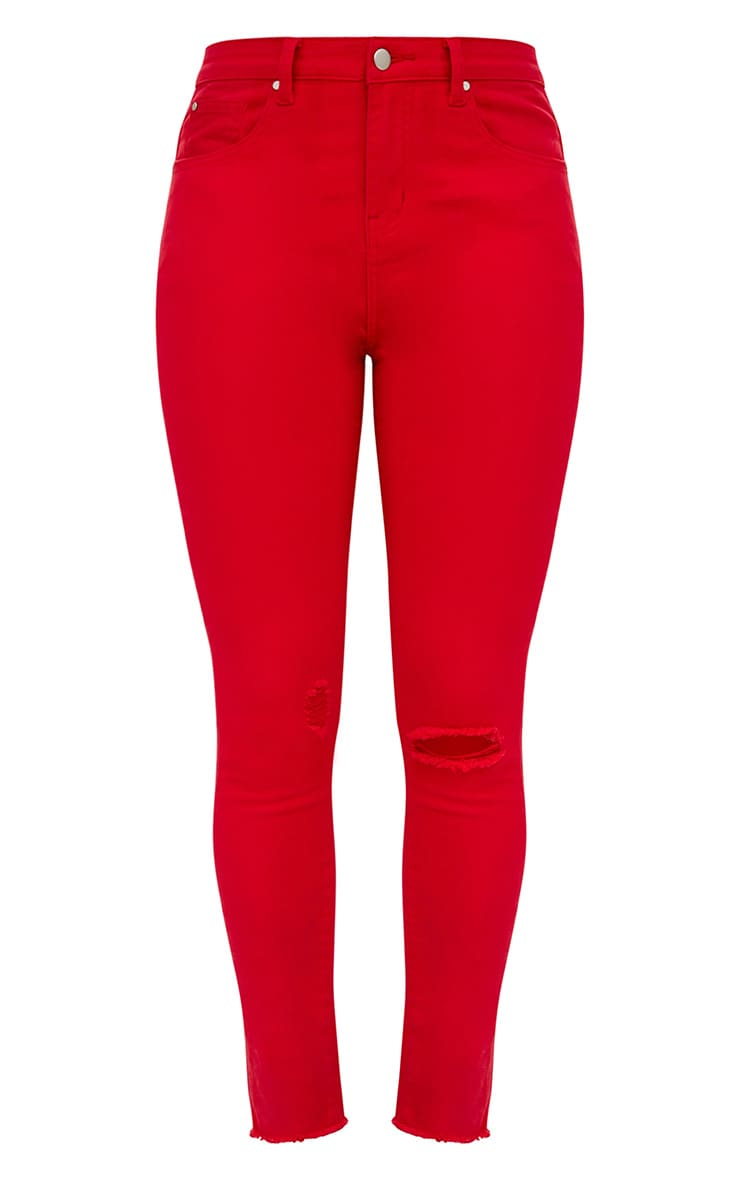 Red Rip Knee Skinny Jean 3