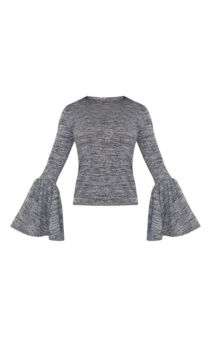 Grey Flare Sleeve Knitted Top 3