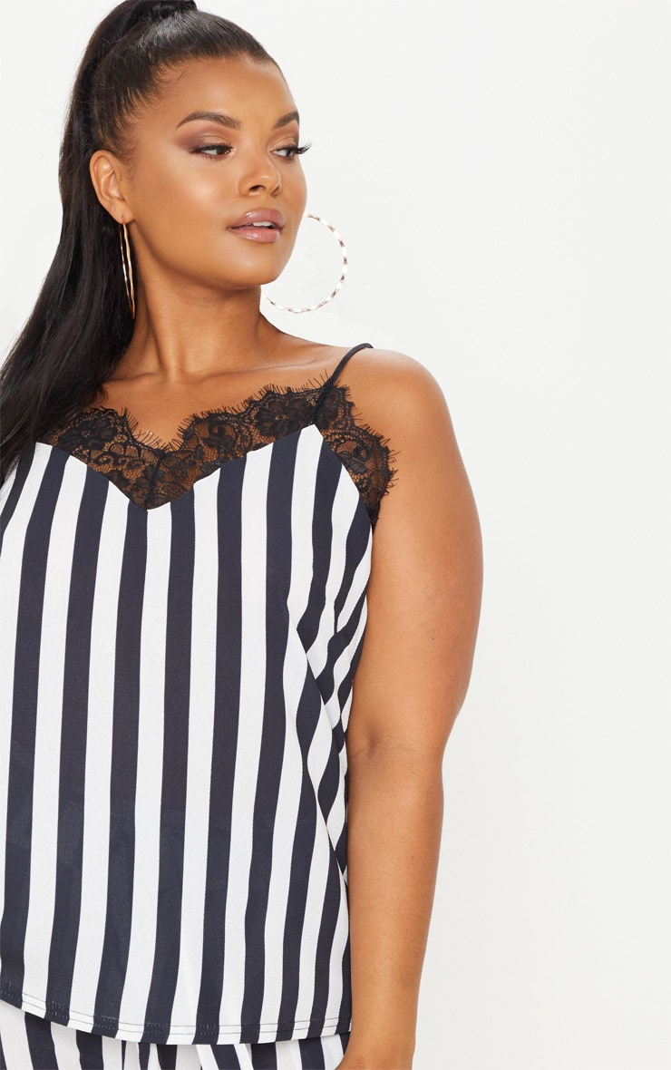 Plus Monochrome Lace Trim Striped Cami Top 5