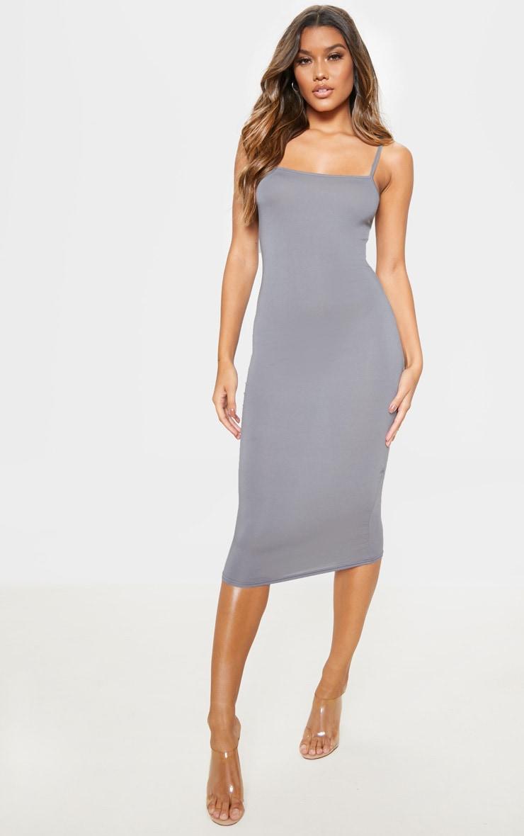 Charcoal Grey Strappy Midi Dress 1