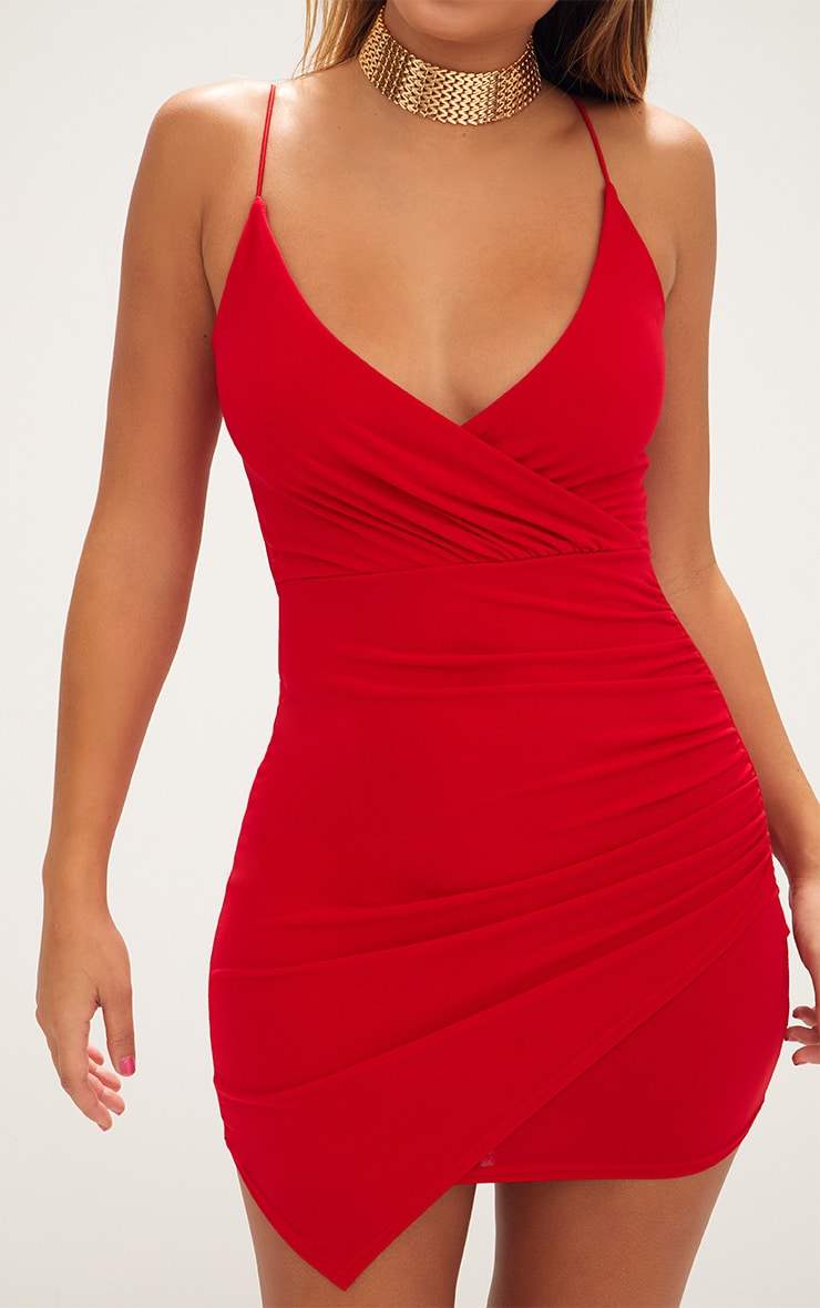 Red Slinky Wrap Strappy Bodycon Dress 5
