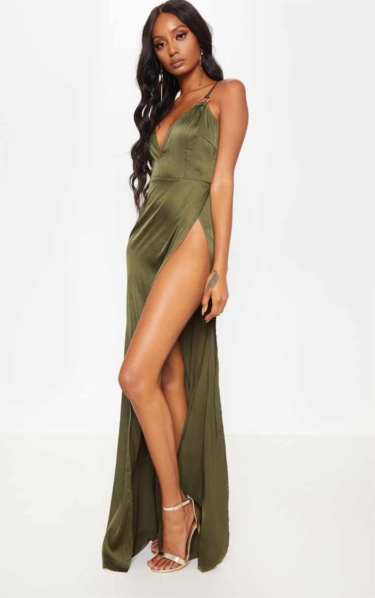 Olive Ring Detail Extreme Plunge Maxi Dress