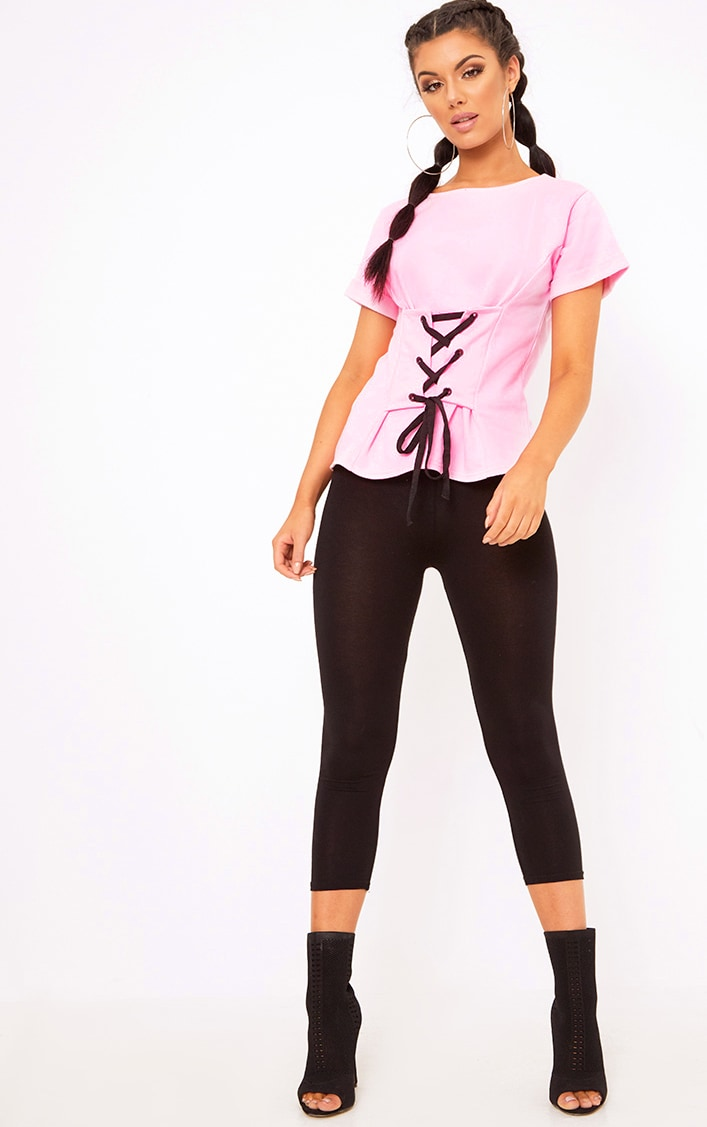 Baby Pink Corset Lace Up T Shirt Sweater 4