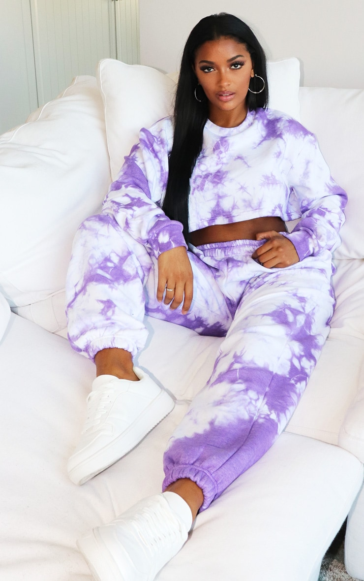 Shape Violet Tie Dye Extreme Cropped Sweater 1