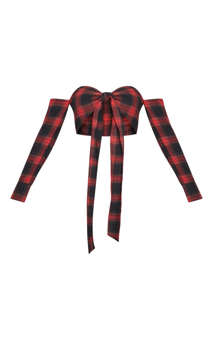 Red Check Bardot Tie Front Crop Top 3