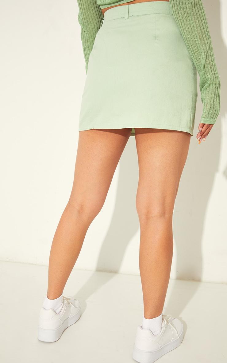 Pale Lime Linen Look Split Hem Mini Skirt 3