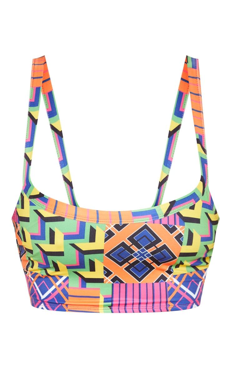 Multi Geo Fuller Bust Print Scoop Neck Bikini Top 3