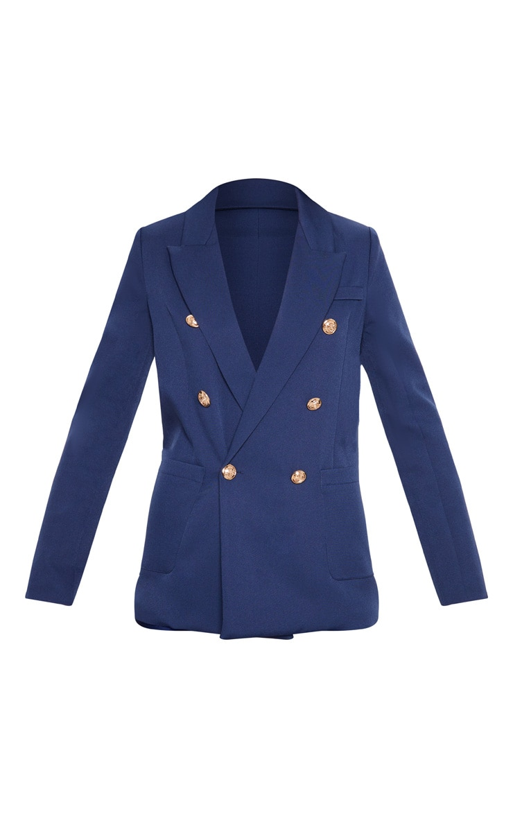 Navy Double Breasted Military Blazer 3
