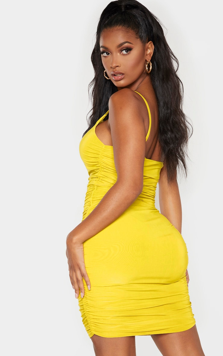 Shape Chartreuse Slinky Ruched Asymmetric Bodycon Dress 2