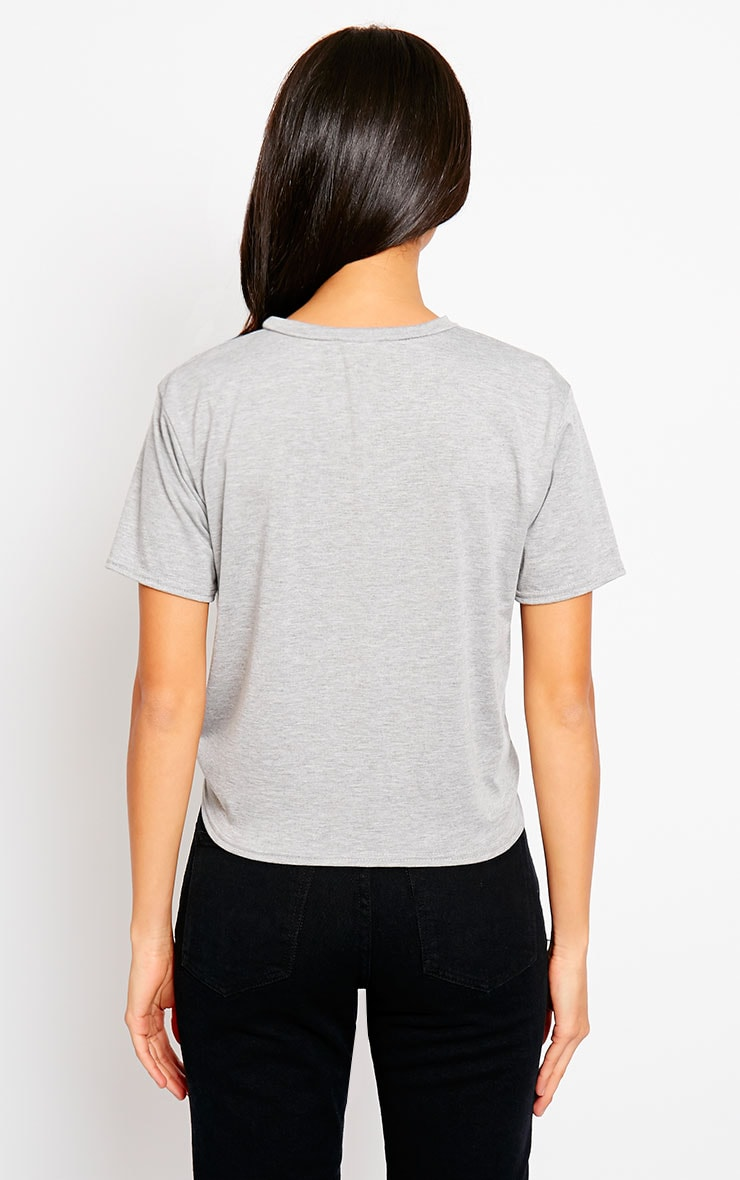 Basic Grey Knot Front T-Shirt 2