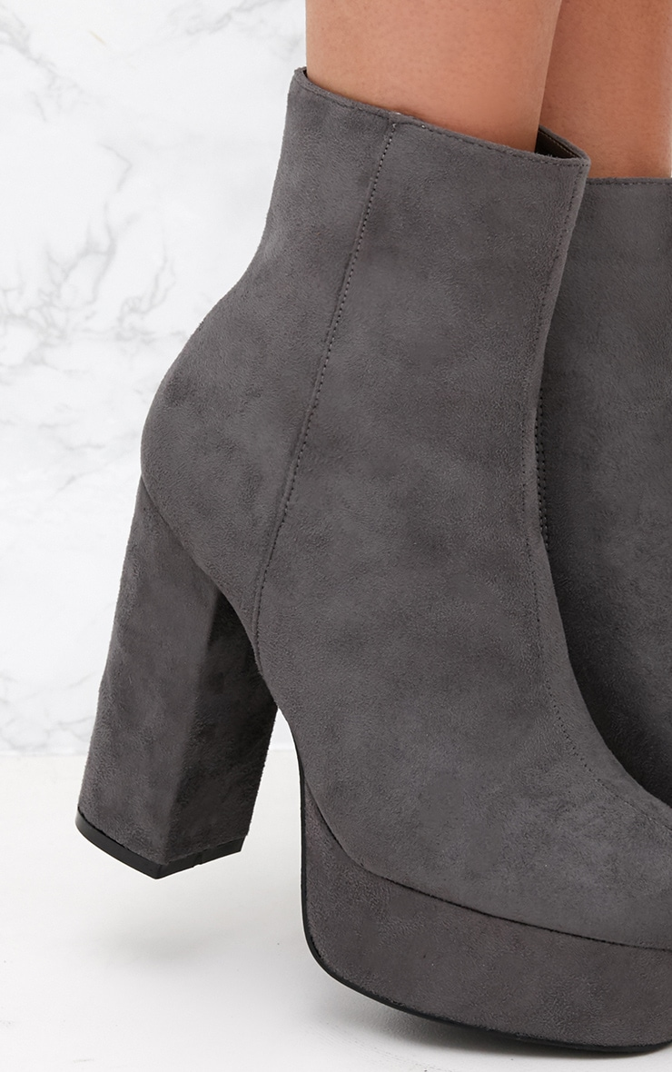 Grey Faux Suede Block Heel Ankle Boot 4
