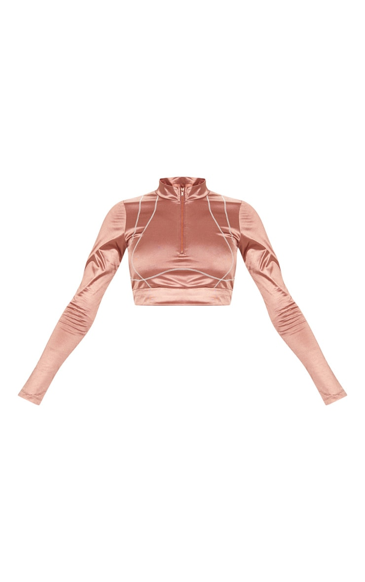 Copper Contrast Stitch Long Sleeve Gym Top  3