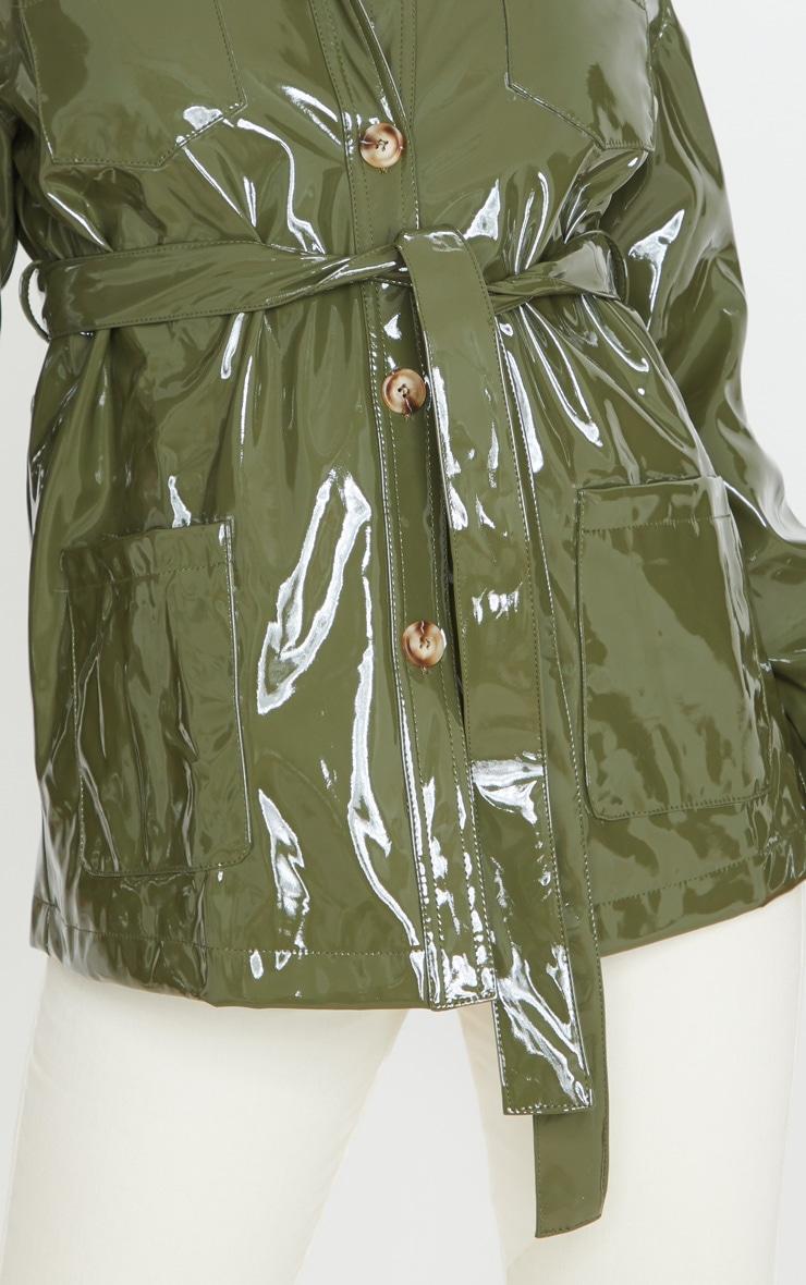 Olive Khaki Vinyl Belted Oversized Jacket 4