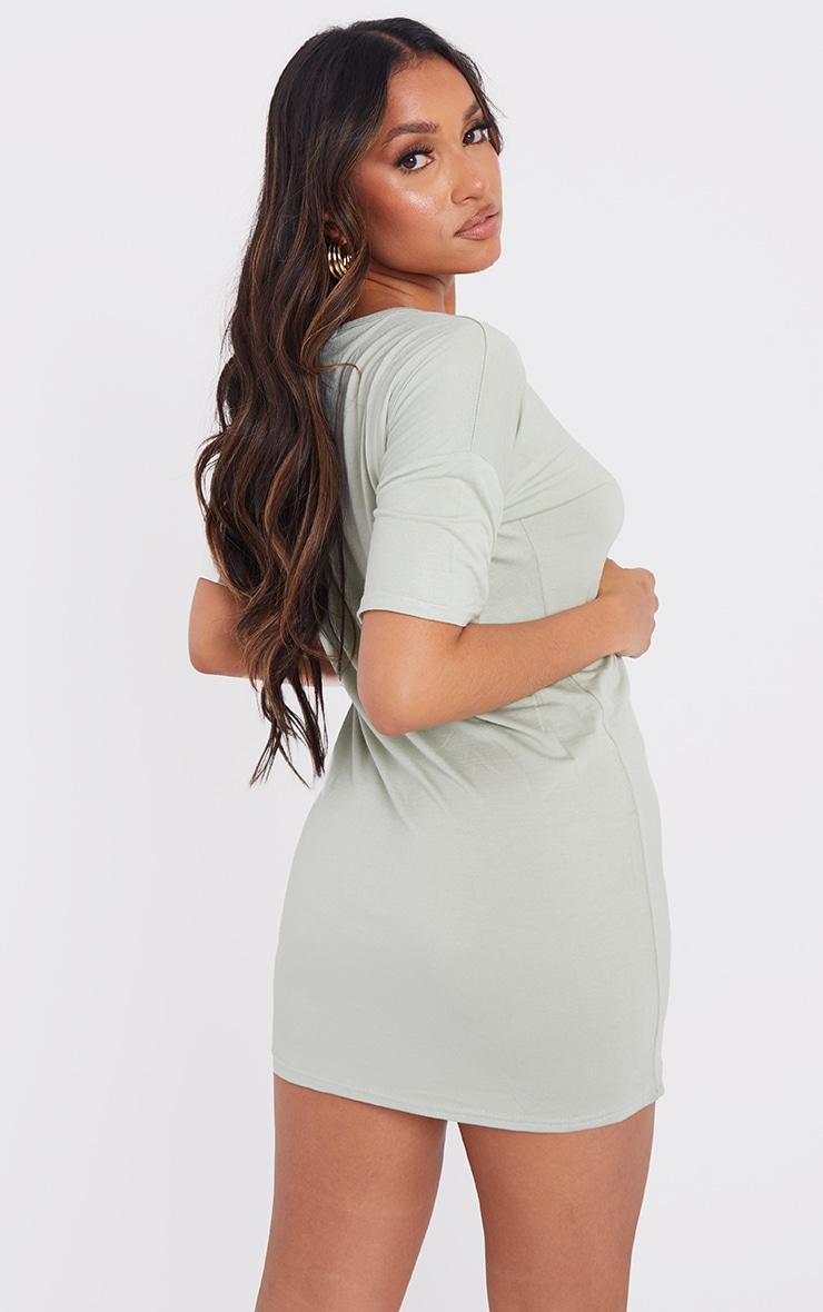 Petite Sage  Oversized T Shirt Dress 2