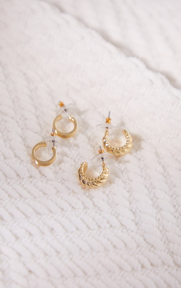 Gold Ribbed Assorted 2 Pack Hoop Earrings 3