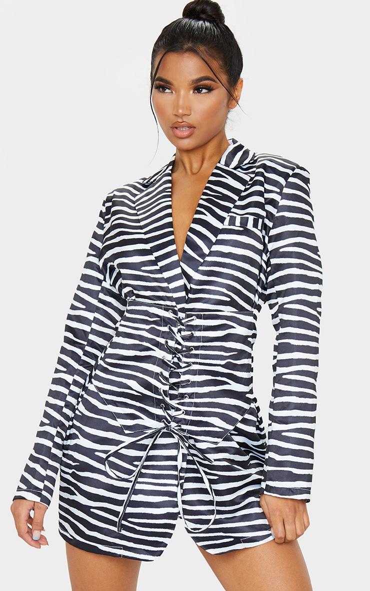 Black Zebra Print Woven Corset Waist Blazer Dress 1