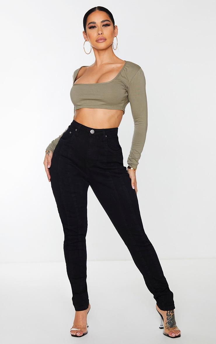 Shape Black Seam Detail Pocket Skinny Jeans 1