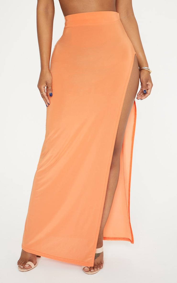 Shape Orange Extreme Side Split Midi Skirt 2