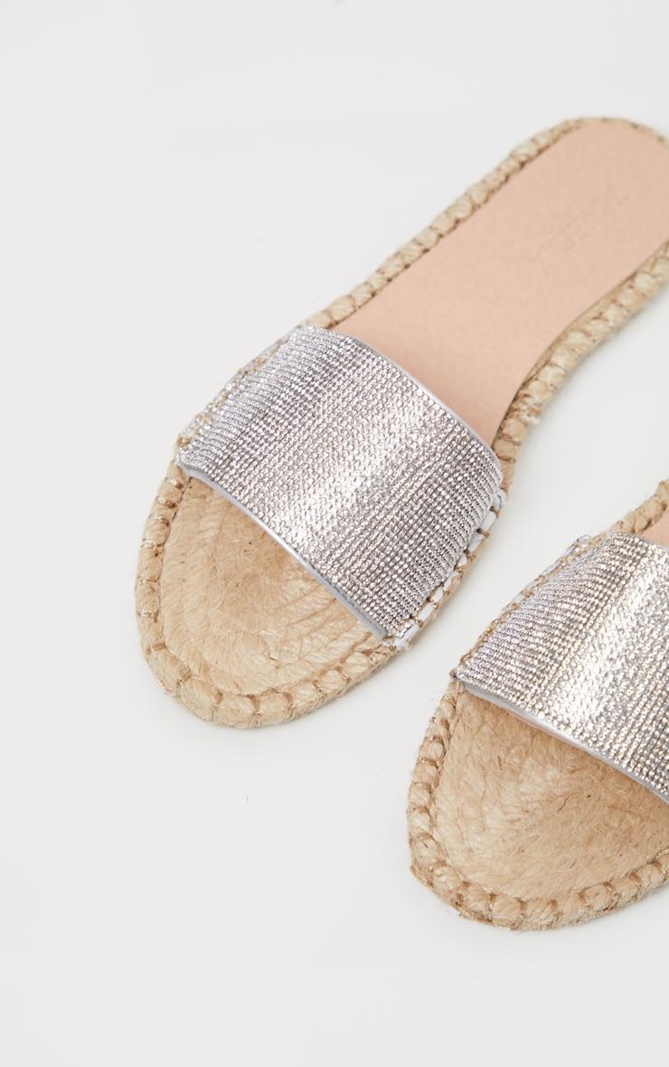 Silver Diamante Espadrille Sandal  4