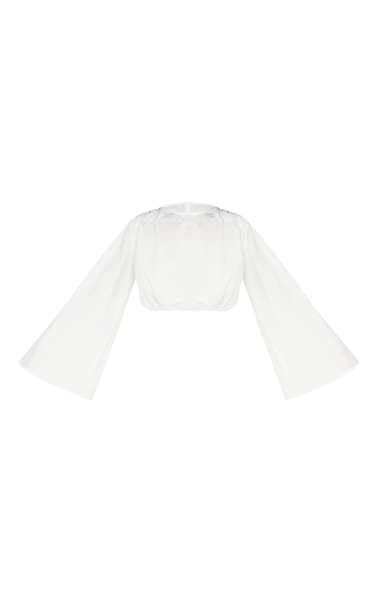 White Woven Ruched Shoulder Pad Elastic Waist Top 5