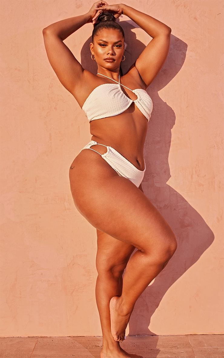 Plus Nude Waffle Texture Halterneck Bikini Top 3