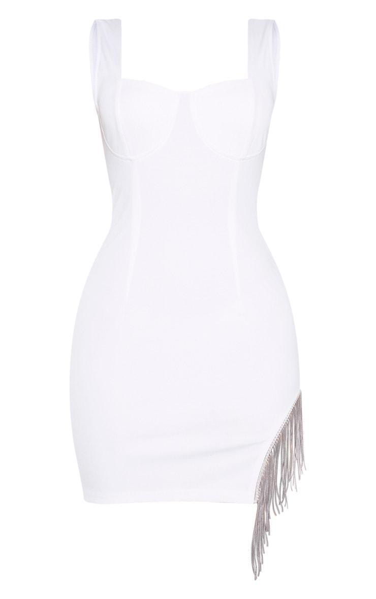 White Sleeveless Diamante Trim Hem Bodycon Dress 3