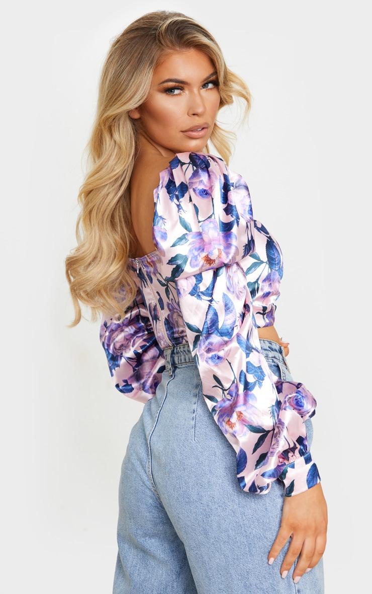 Lilac Floral Print Satin Button Front Square Neck Crop Top 2