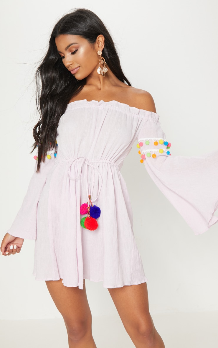 Pastel Pink Pom Pom Trim Bardot Smock Dress