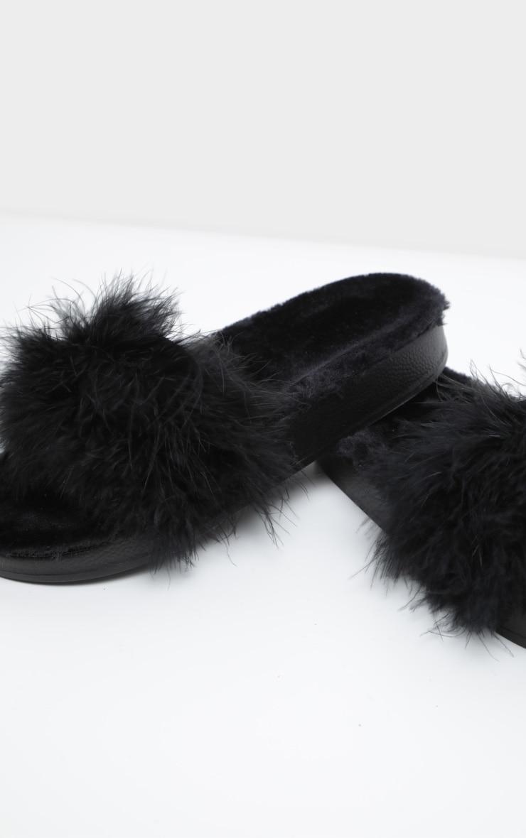 b77e4e172222 Black Faux Fur Lined Feather Sliders image 1