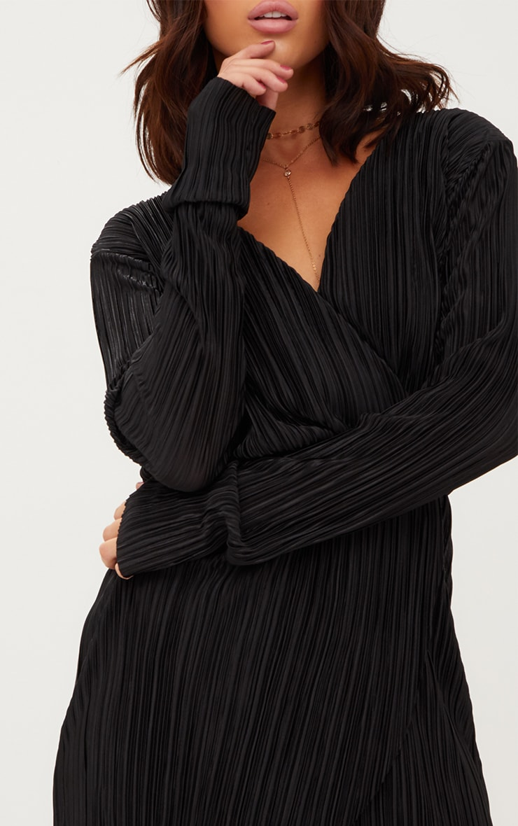 Black Long Sleeved Plunge Pleated Wrap Dress 5